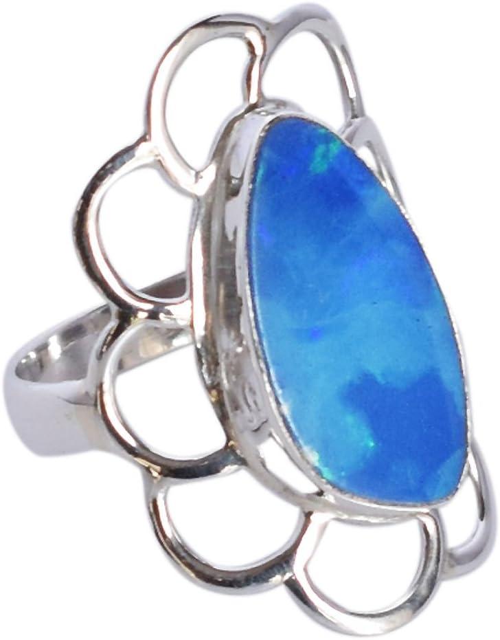 Exclusivo anillo de plata de ley 925 con piedra de ópalo de fuego para niñas SZ 7 FSJ-987