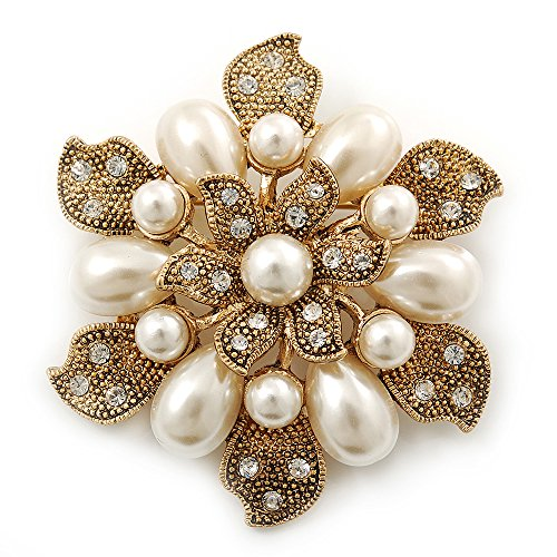 Vintage Inspired Swarovski Crystal White Simulated Pearl 'Flower' Brooch In Gold Plating - 55mm Diameter (Vintage Gold White Brooch)