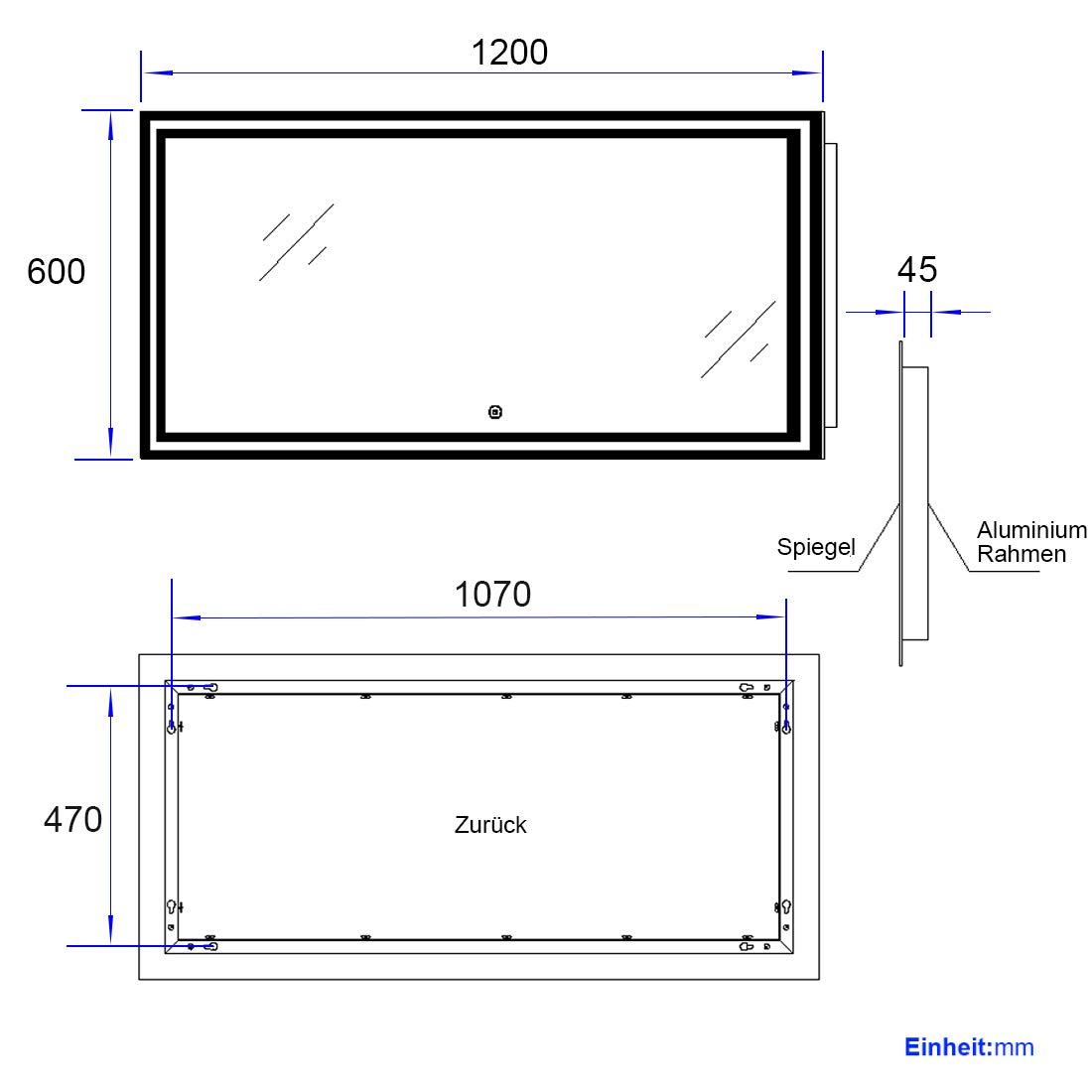 Badezimmerspiegel Wandspiegel warmwei/ß EMKE 50 x 70 x 4,5cm Badspiegel mit LED Beleuchtung