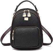 Backpack Purse for Women, Waterproof Fashion Leather Flap Zipper Girls Backpack Mini Casual Shoulder Bags Travel Bag School D