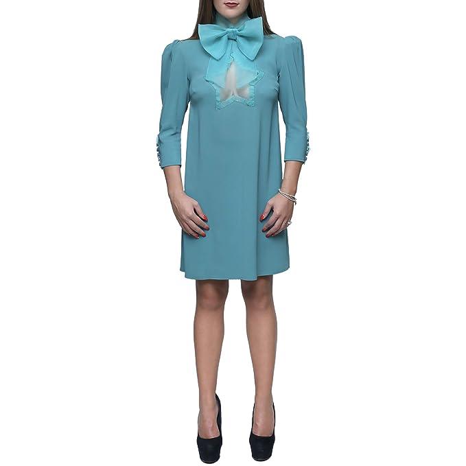 Elisabetta Franchi Mini abito con fiocco al collo colore petrolio tg 42   Amazon.it  Abbigliamento 2e1a79ab6b6