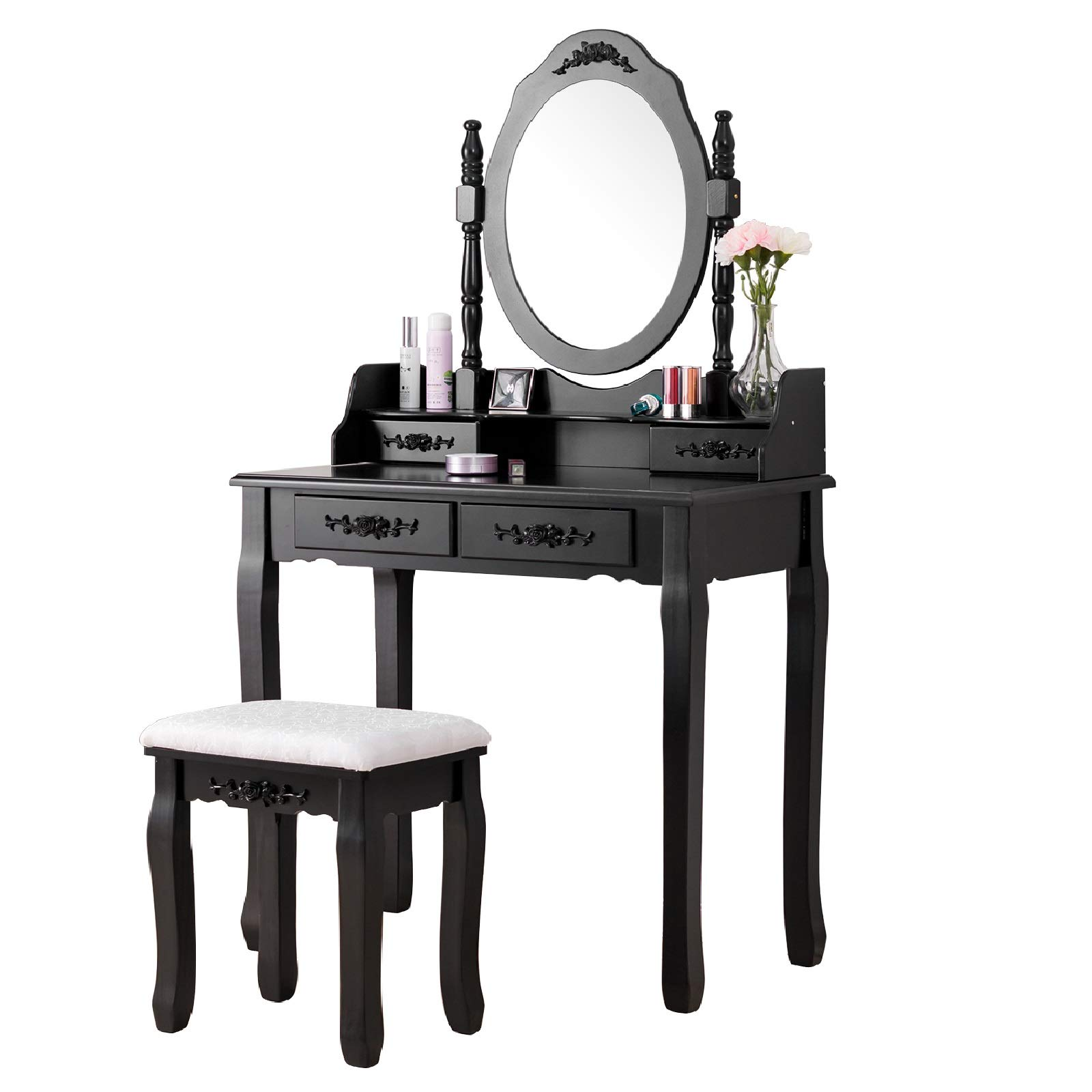 Mecor Vanity Table,Makeup Dressing Table with Oval Mirror,Bedroom Vanity Set w/Cushioned Stool 4 Drawers Women Girls Kids Black by Mecor