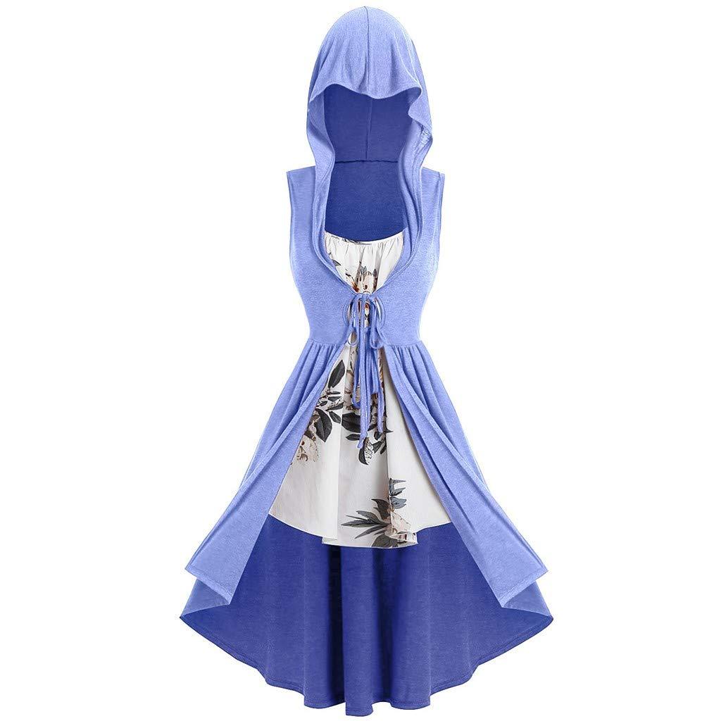 Women Hooded Sweatshirt Dress Sleeveless Bandage Medieval Vintage Lace Up High Low Cloak Robe (XXL, Blue)