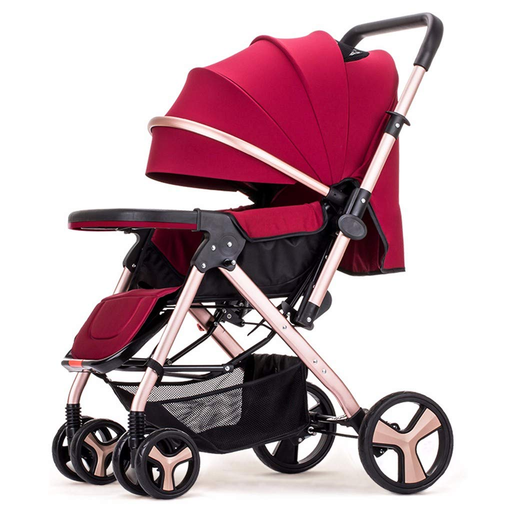 High Landscape bi-Directional Sitting and Lying Baby Trolley for Simple Baby Carriage,Gules