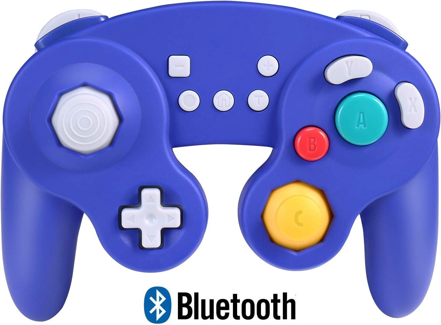 Exlene Wireless Controller Gamepad para Nintendo Switch, Recargable, Compatible con PC / PS3, GameCube Estilo, Motion Controls, Rumble, Turbo (Azul)