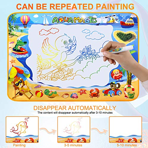 61fjfuynifL - Toyard Doodle Mat, Large Aqua Magic Water Drawing Mat Toy Gifts for Boys Girls Kids Painting Writing Pad Educational Learning Toys for Toddler