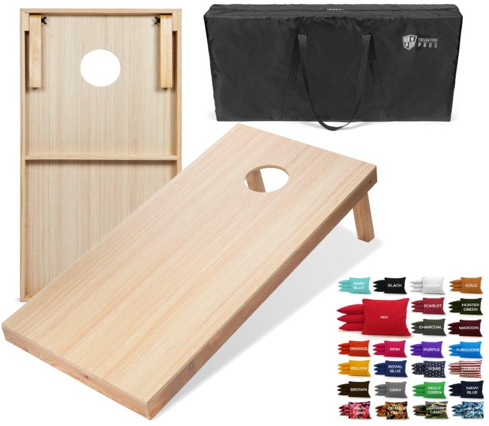 Tailgating Pros 4'x2' Woodgrain Finish Cornhole Boards w/Carrying Case & Set of 8 Cornhole Bags (You Pick Color) 25 Bag Colors! (Custom Colors)
