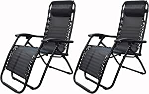 TJHSM Zero Gravity Lounge Chair Recliner Lawn Chair Adjustable Foldable Outdoor Patio Pool Reclining Chair with Removable Headrest Pillow - 2 Packs