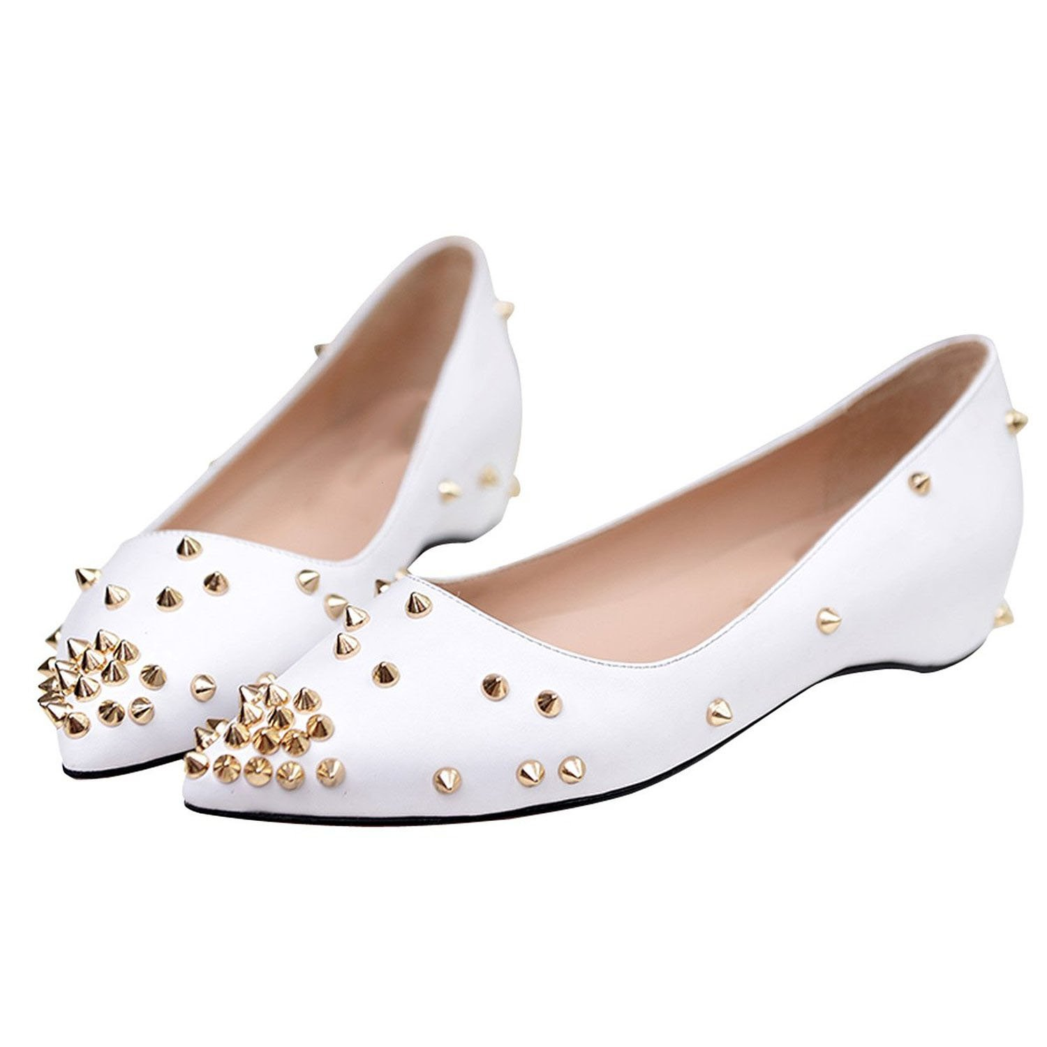 Arc-en-Ciel007 Women's Shoes Studded Patent Leather Flat B07D2J6573 10 B(M) US|White