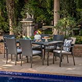 Lula Outdoor 7 Piece Grey Wicker Rectangular Dining Set with Grey Water Resistant Cushions