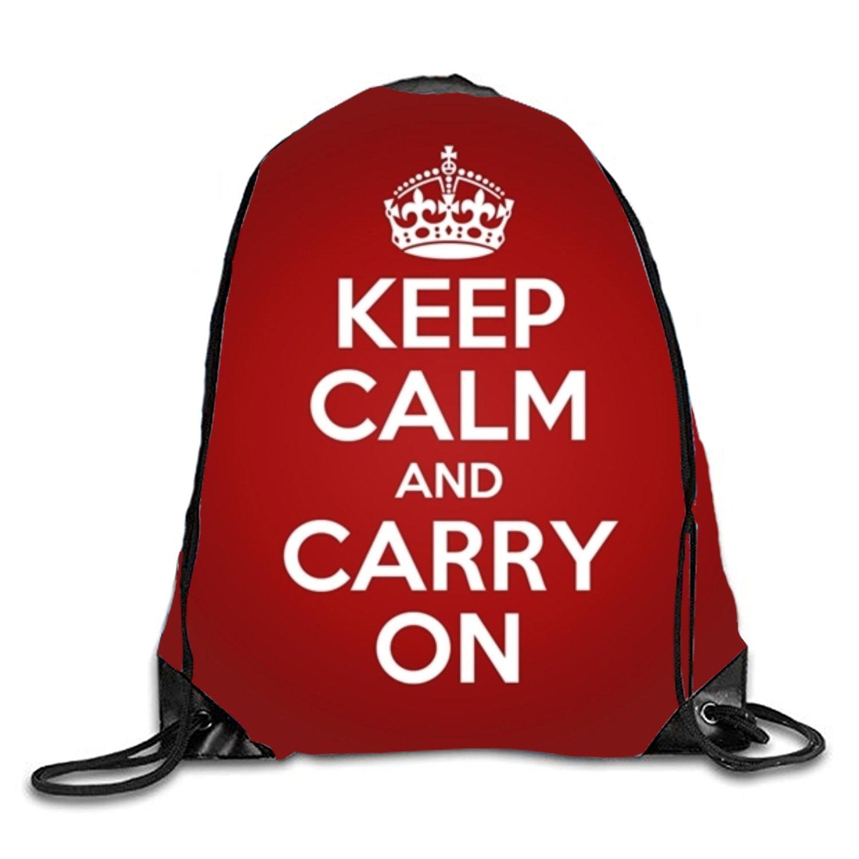 Keep Calm And Carry On Drawstring Backpack Travel Shoulder Gym Bag