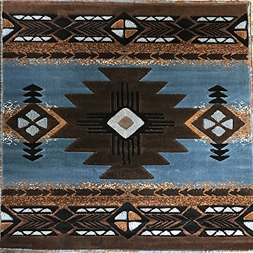 Cheap  Southwest Native American Square Area Rug Blue & Brown Design C318 (7..