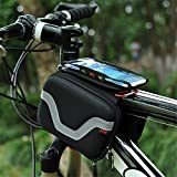 Baiyu Bicycle Cycling Frame Bag Head Tube Bag Case Top tube Bike phone bag Holder Bike Front Tube Double Pannier Saddle Bag Pouch For Iphone 6 5s/5c/5 iphone 4/4 and other mobile phone up to 5.5 inches