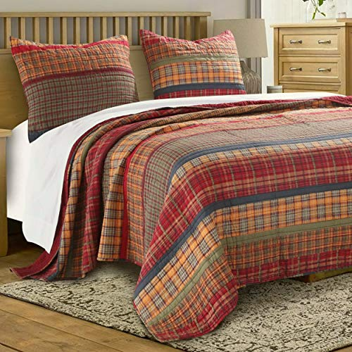 - Finely Stitched Quilt Set with Shams 3 Piece Print Stripe Plaid Pattern Bedding Dark Yellow Gold Red Luxury Reversible Bedspread Double Bed Full/Queen Size - Includes Bed Sheet Straps