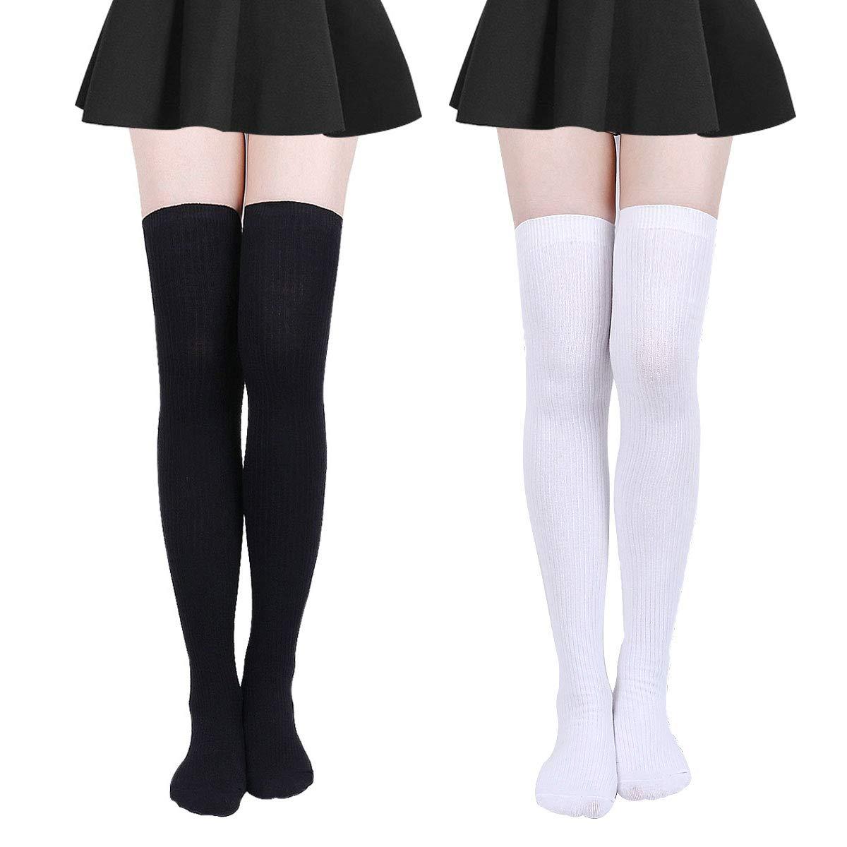Overknee Str/ümpfe Streifen Lange Socken Retro Knitting Str/ümpfe M/ädchen Cheerleader Sportsocken Baumwollstr/ümpfe Damen Kniestr/ümpfe
