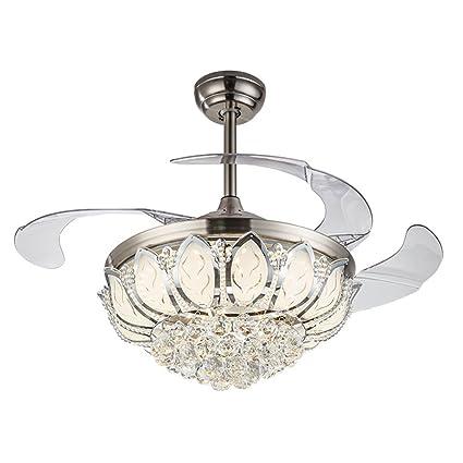 Silver Fan Lamp Chandelier LED Crystal Ceiling Light Lighting Remote ...