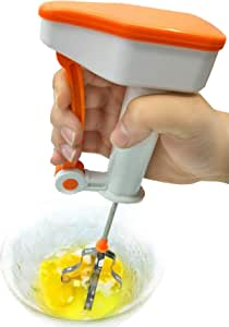 Hand-Push Mixer Stirrer,Stainless Steel Quick Whisk,Egg-Beater,Kitchen Utensil for Blending Whisking,Orange