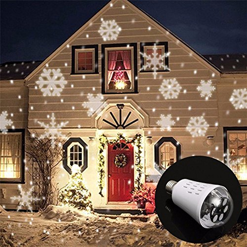 JIGUOOR 4W LED Christmas projector light Wide voltage 85-265V E27 screw party snowflake projector lamp stage lights for Gardens, Homes, Wedding, Christmas (Disney Halloween Fireworks Music)