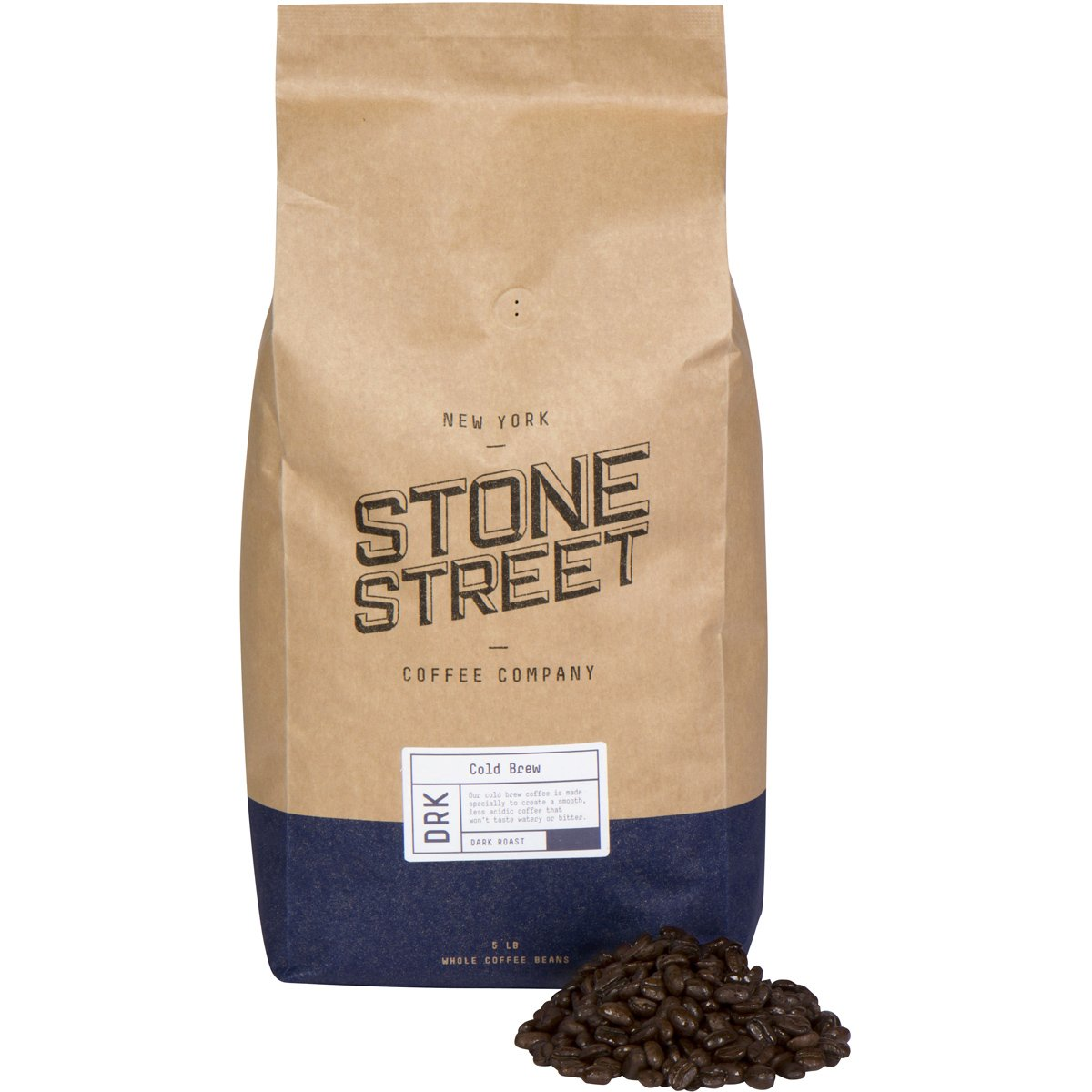 Stone Street Coffee Cold Brew Reserve Whole Bean Coffee, 5 LB Bag, Dark Roast Colombian
