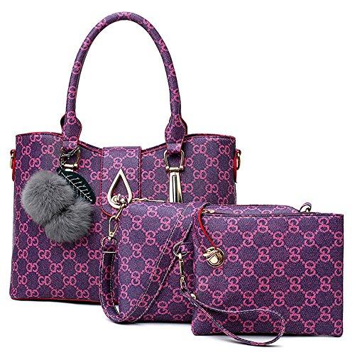 SJMMBB Tres Piezas De Moda Paquete para Bolso,Violeta,22X23X13.5Cm Violeta
