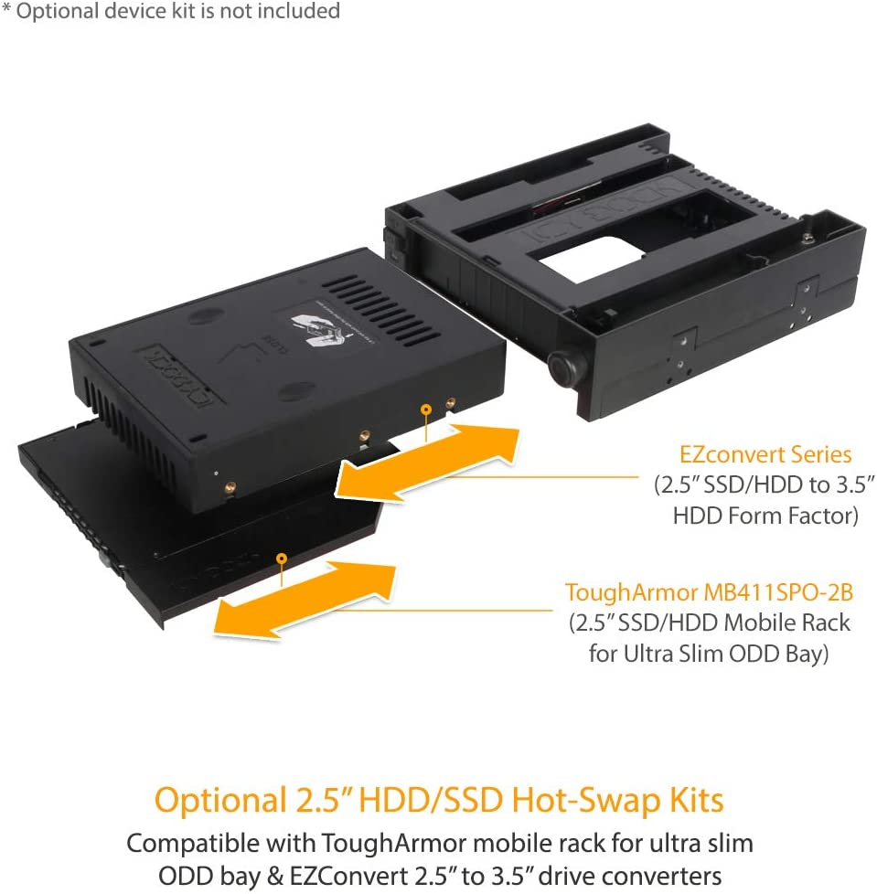 ICY DOCK DuoSwap Tray-Less 3.5?? SATA HDD Mobile Rack and Ultra-Slim 9.5mm ODD