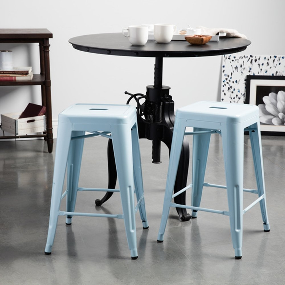 Amazon.com: Tabouret 24-inch Light blue Bar Stools (Set of 2 ...