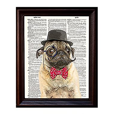 Dictionary Art Print - Sir Pug Moustache and Bow Tie- Printed on Recycled Vintage Dictionary Paper - 8 x11  - Mixed Media Poster on Vintage Dictionary Page