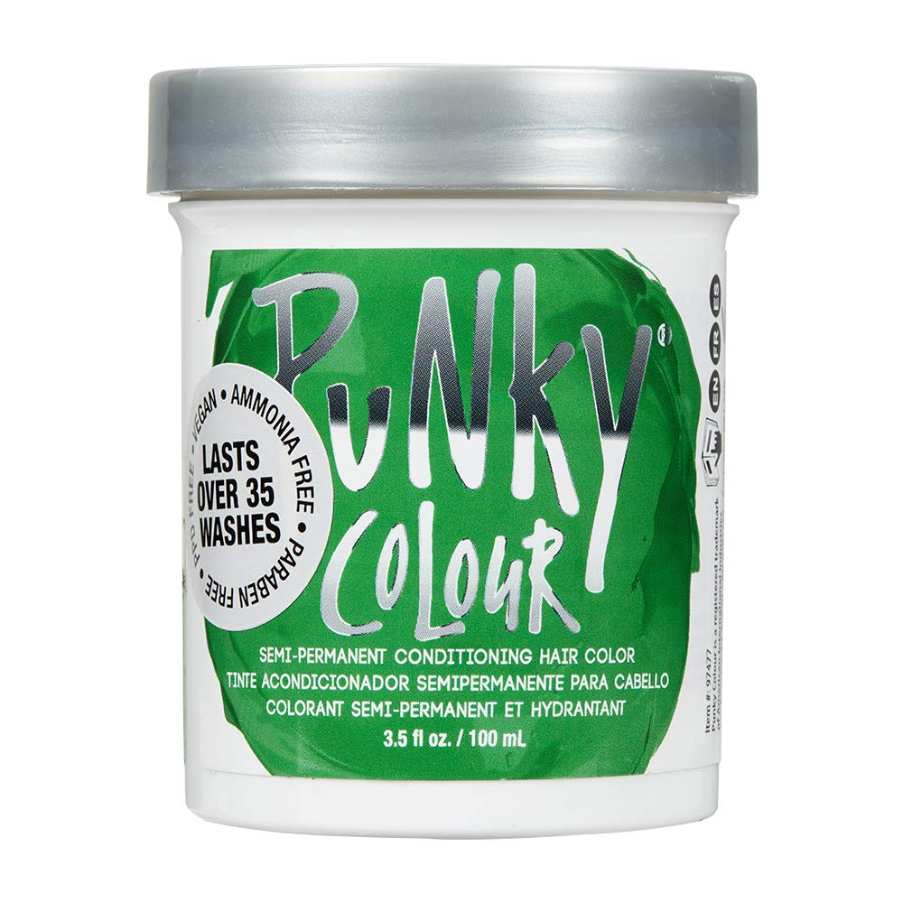 Punky Apple Green Semi Permanent Conditioning Hair Color, Vegan, PPD and Paraben Free, lasts up to 25 washes, 3.5oz