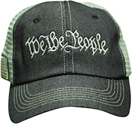 USA We The People Embroidered Cotton Denim 6 Panel Mesh Hat Cap Navy