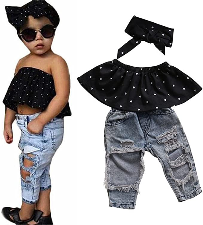 2019 New Baby Girl Off Shoulder Ruffle Solid Tops+Hole Denim Jean Shorts Outfits