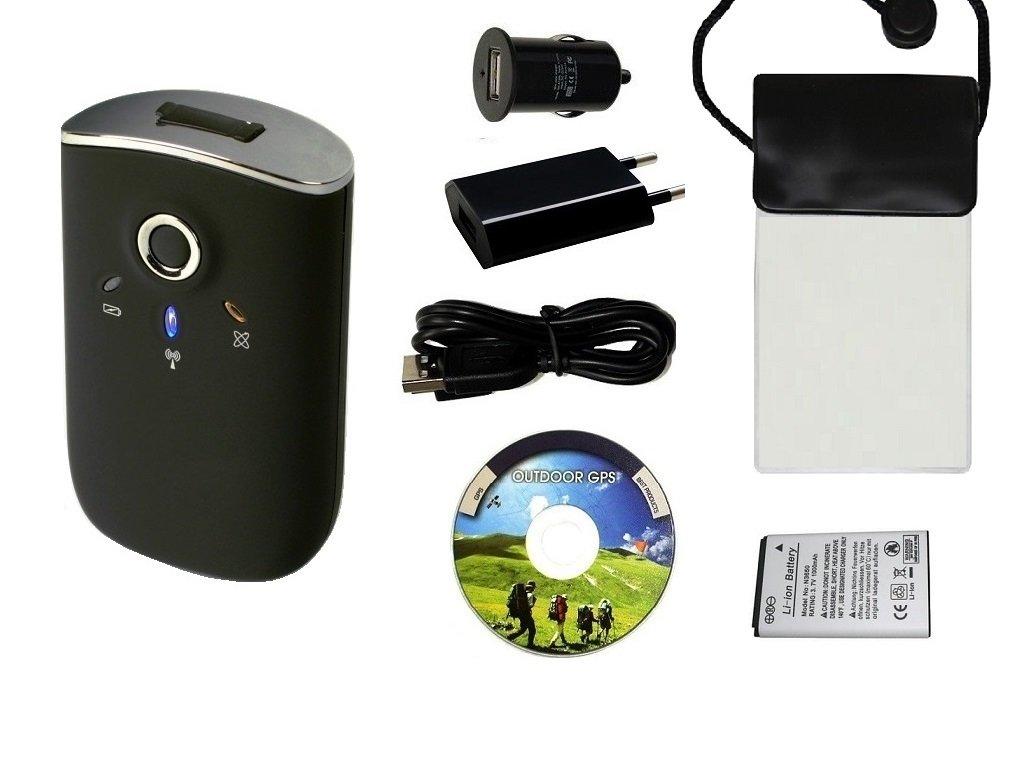 GT 750fl Bluetooth GPS Récepteur/Enregistreur de données–Set avec sac imperméable, 110–240V Alimentation USB et adaptateur allume-cigare 12V/Nouvelle Sirf IV et de chipset canway Logiciel