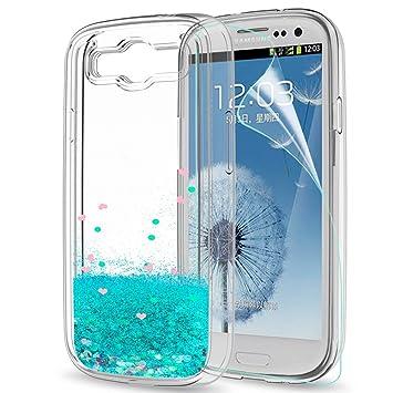 LeYi Compatible con Funda Samsung Galaxy S3 / S3 Neo Silicona Purpurina Carcasa con HD Protectores de Pantalla,Transparente Cristal Bumper Telefono ...