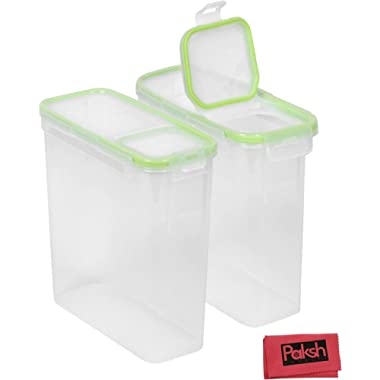 Rectangular Slim Cereal Storage Container, 15.3 Cup Dry Food Container, Airtight Flip Top Food Saver Containers - 2 Pack - Bundled with Cloth