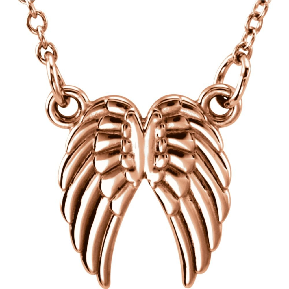 Jewels By Lux 14K Rose Gold Tiny Posh/å/¨ Angel Wings 16-18 Necklace