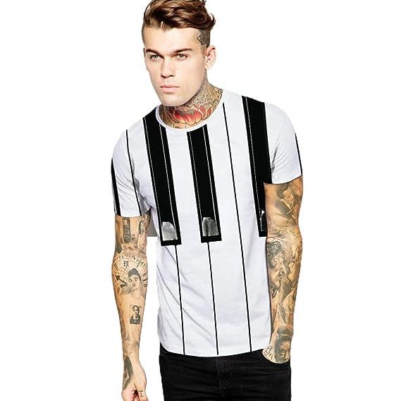 ALIKEEY Camiseta De Manga Corta Casual con Agujero Rasgado para Hombre Top Blusa Top Casual De Verano para Hombre para Moda Color Hechizo Bolsillo ...