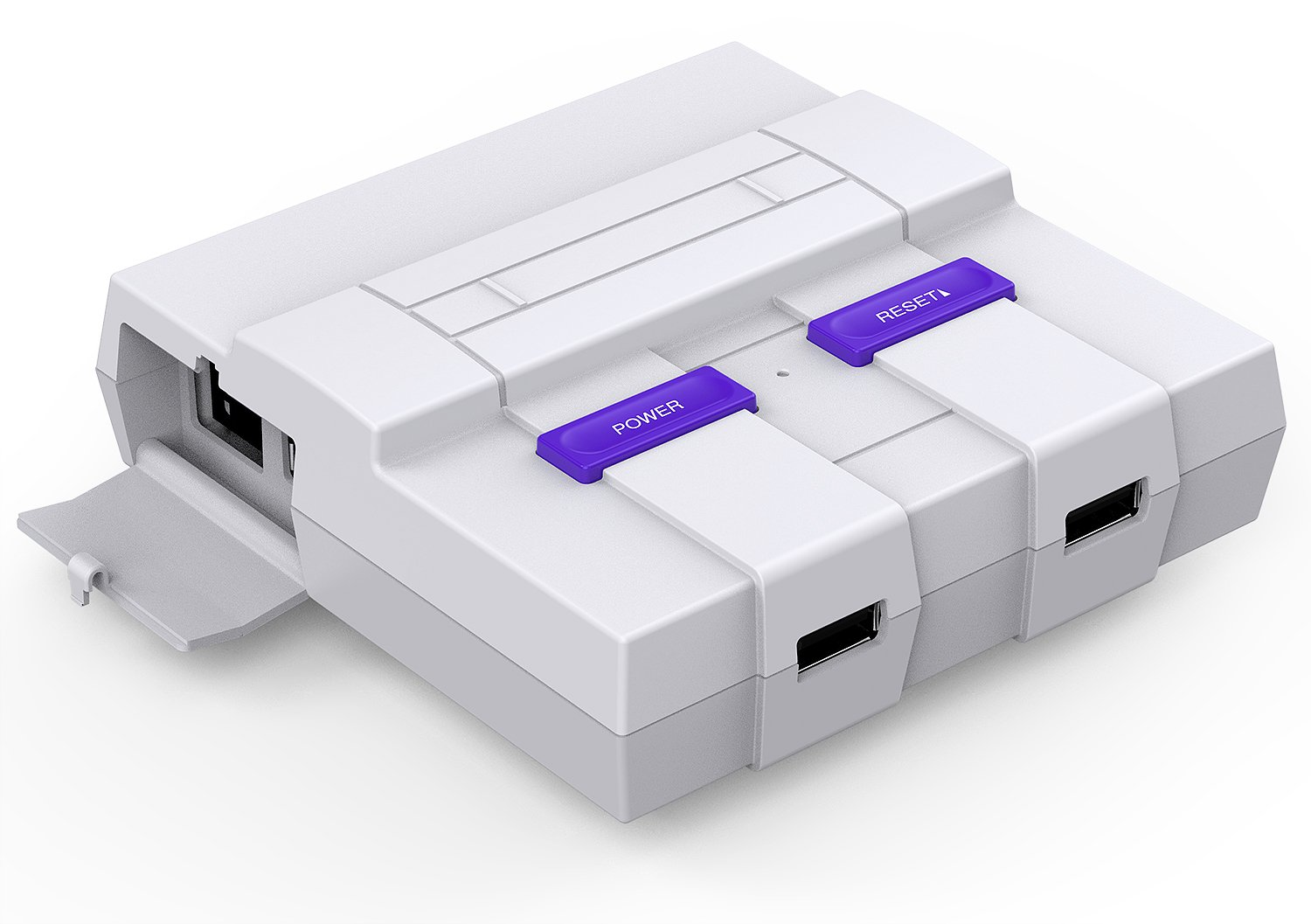 SNES Raspberry Pi Case for Pi 3, 2 and B+ with Front facing USB ports , Functional POWER and RESET Button and Cooling Fan by BassTop