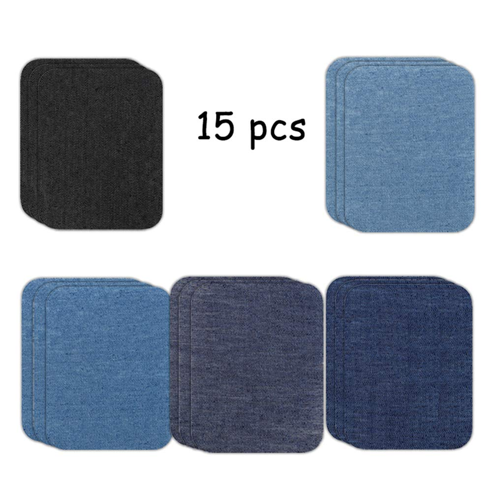 5 Colors Iron On Denim Patches Pack for Clothing Repair Ideal for Girls Kids 50//30 // 15 Pcs Denim Cotton Patch DIY Decorating Reinforcing
