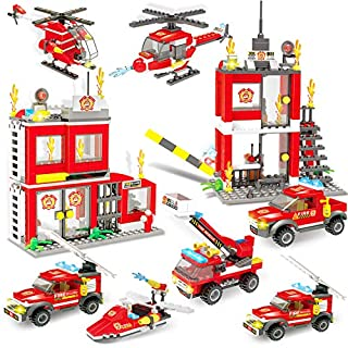 City Fire Station Fire Truck Building Blocks Fire Engine Vehicles Building Set Fire Fighter Building Kit Police Helicopter FireBoat Construction Toys Building Bricks Gifts Present for Boys Girls 6-12