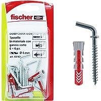 Fischer 537634 pluggen Corto Duopower, grijs/rood, 6 x 30 mm, 6 stuks