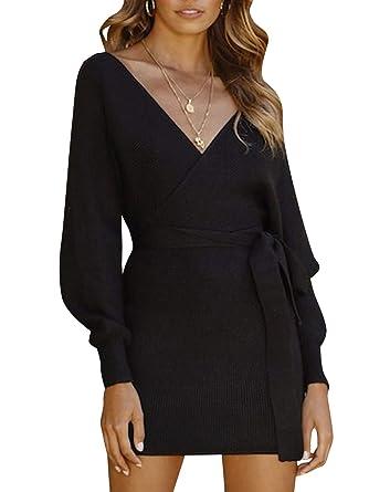 44a73f2eb25 BerryGo Women s Wrap V Neck Backless Knitted Sweater Mini Dress Black