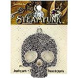 Solid Oak Steampunk Large Floral Skull Metal Pendant (1 Pack)