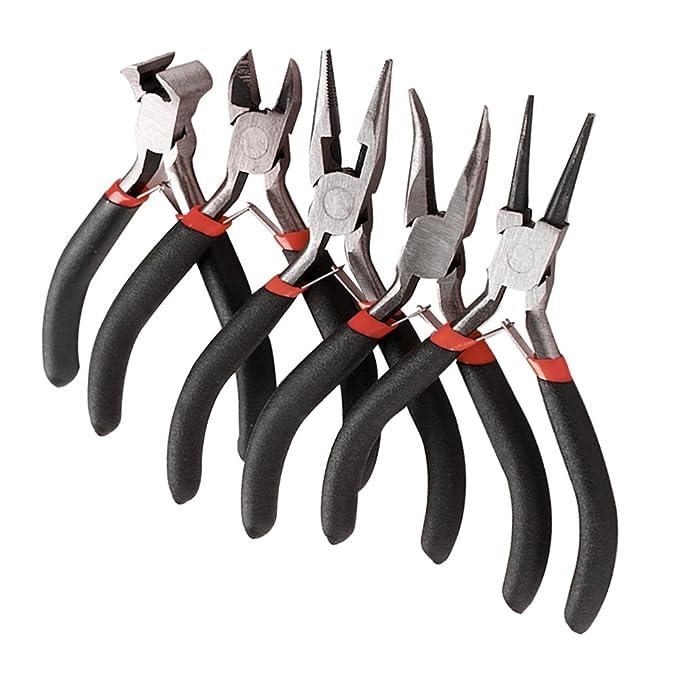 Juego de 5 alicates para bisutería, juego de herramientas para hacer bisutería, redondo, largo, doblado, cortador lateral daigonal, extremo de corte ...