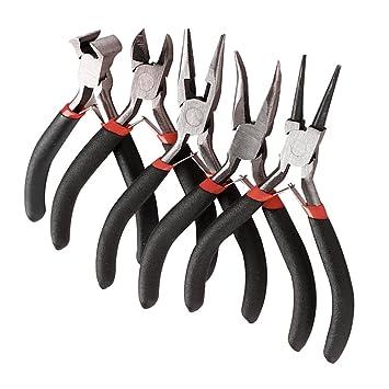 5pcs Mini alicates juego de herramientas bisutería Beading Kit Cortador de alambre redondo plano doblado nariz amarillo: Amazon.es: Hogar