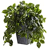 Nearly Natural Hanging Pothos w/Slate Planter UV Resistant (Indoor/Outdoor)
