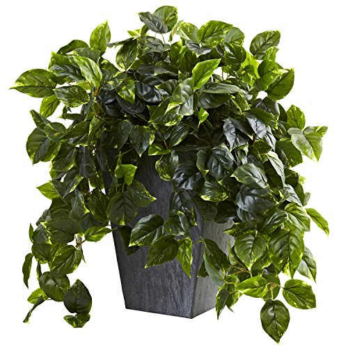 Nearly Natural Hanging Pothos w/Slate Planter UV Resistant (Indoor/Outdoor) by Nearly Natural