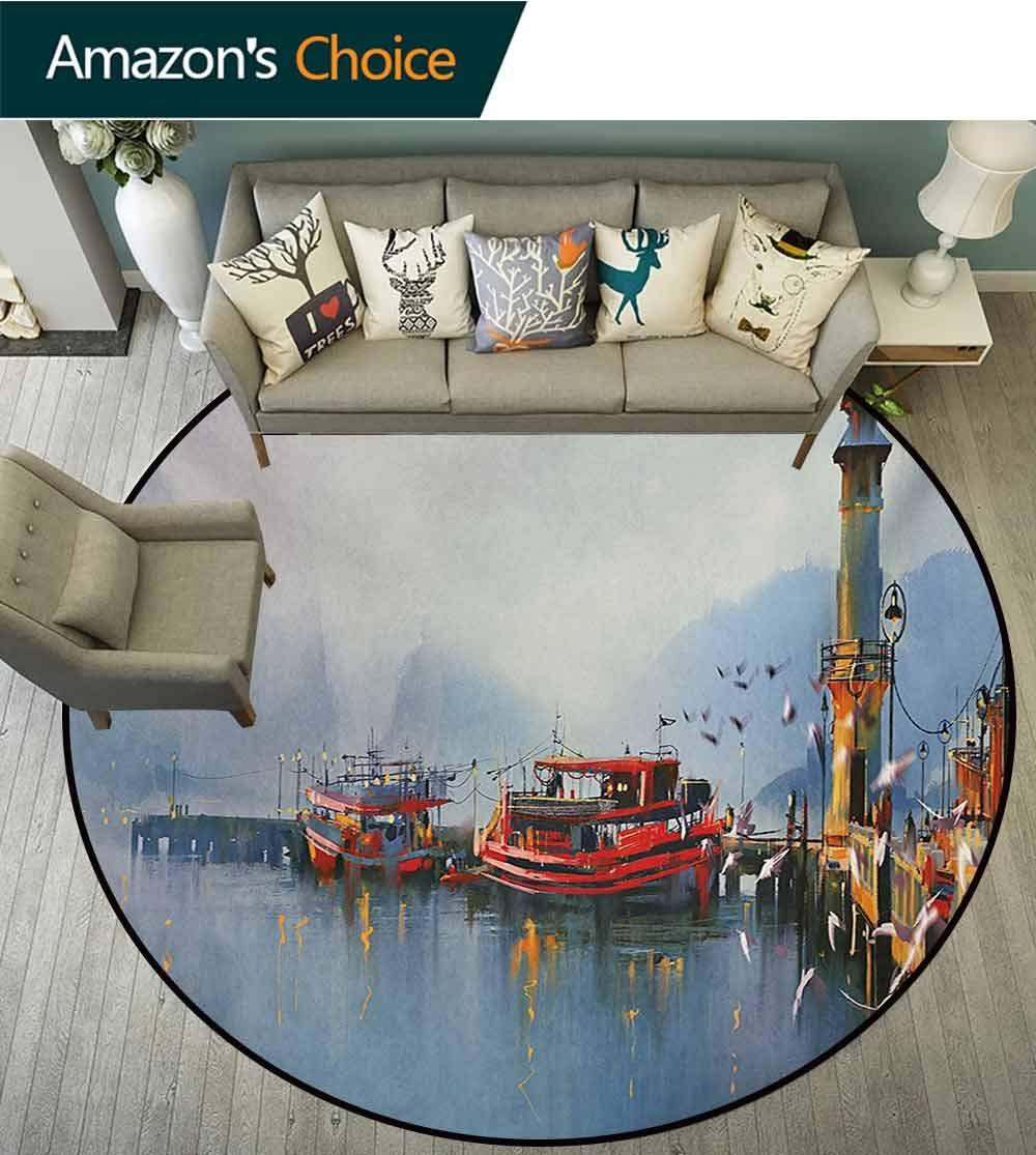 RUGSMAT Country Machine Washable Round Bath Mat,View of A Misty Morning at The Harbor with Boats and Birds in Old Fishing Town Art Non-Slip No-Shedding Bedroom Soft Floor Mat,Round-55 Inch