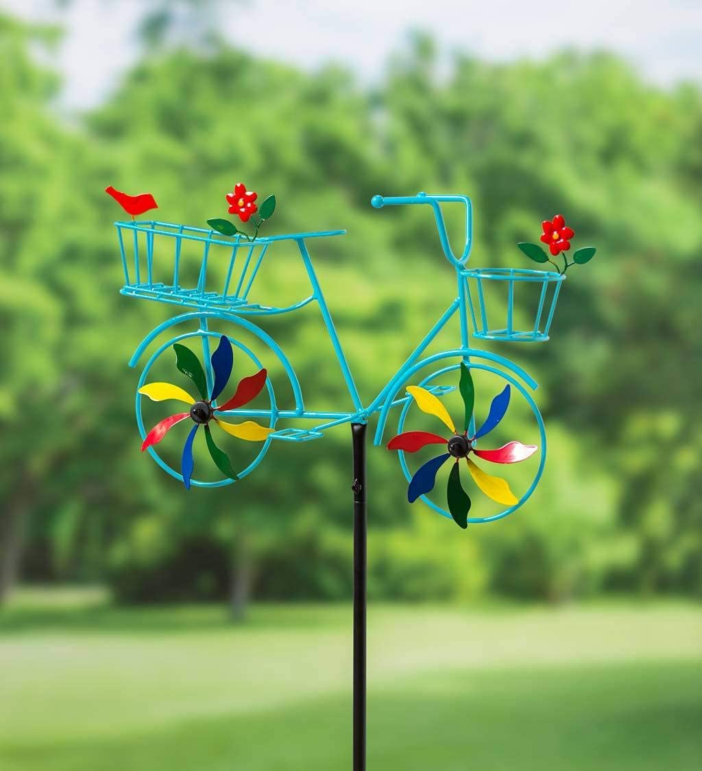 Plow & Hearth 55031BL Bicycle Spinner Decorative Garden Stake, Blue