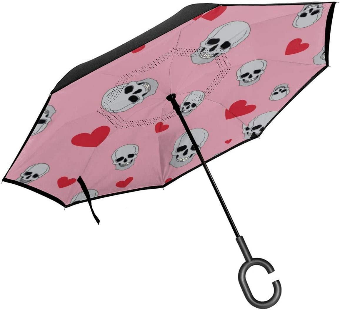 PYFXSALA Smiles Skull Heart Pattern Windproof Inverted Umbrella Double Layer UV Protection Self Stand Upside Down with C-Shaped Handle Folding Reverse Umbrella for Car Rain Outdoor