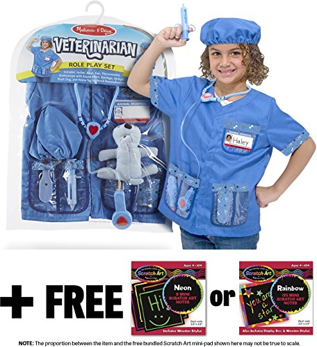 Veterinarian Costume Set +FREE Melissa & Doug Scratch Pad Bundle [48507] -