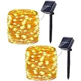 Joomer 2 Pack Solar String Lights, 33ft 100LED 8 Modes Outdoor String Lights, Waterproof Decorative String Lights for…
